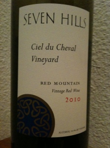 Seven Hills Winery 2010 Ciel du Cheval