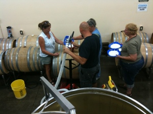 Inoculating the barrels of Chardonnay  juice.  Looking forward to working with these people for the next two years!