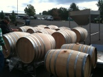 More barrels, they were moved under cover to be painted with the mildewcide due to the weather.