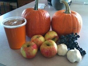 Local honey, pie pumpkins, fresh pick honeycrisp apples. garlic and Carmenere grapes from the vineyard.  All yummy!
