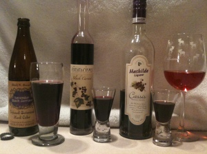 All based on Cassis: domestic cider, our wine, dessert wine, and a French liquor.