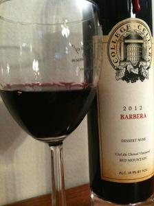 College Cellars 2012 Barbera dessert wine - Ruby Port Style.