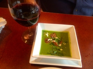 Second course of spinach soup with shrimp and Trio 2010 Grenache.