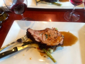 Third course pork chop with mustard sauce and Trio 2010 Mourvedre'.