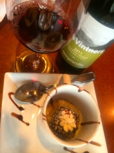 Fourth course of cracked pepper cookie and espresso pudding to pair with Trio 2011 Tempranillo.