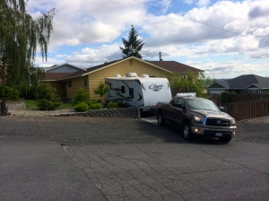 Cougar camping trailer and Toyota Tundra