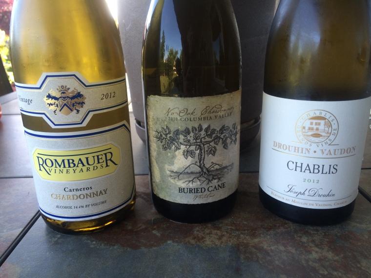 Chardonnay comparison Napa Valley's Rombauer, Burgundy's Drouhin Vaudon and Columbia Valley Washington 2010 Buried Cane.