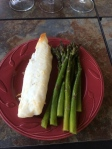 Tilapia and locally grown asparagus for dinner, simple but diverse flavors.