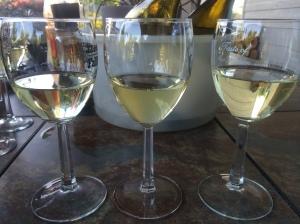 Left to right: Buried Cane 2010 Chardonnay, 2012 Rombauer Chardonnay, 2012 Drouhin Vaudon Chablis