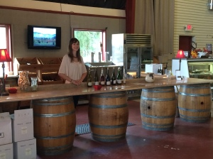 Amy, our tasting room assistant at Domaine Meriwether.