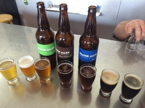 A flight of bottled and tap brews at Heater Allen Brewery in McMinville, OR.