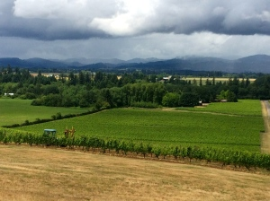 Anne Amie Vineyard in the Yamhill-Carlton AVA of Oregon from outside the tasting room.