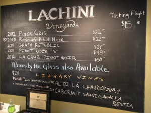 Lachini Vineyards, Carlton, Oregon tasting room menu board.