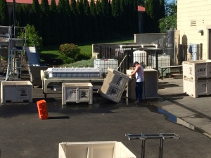 College Cellars first year students preparing equipment for harvest.