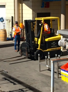 Forklift class practice; watching them brings memories of last year's class to mind.