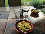 Dinner: neighbor's cucumber, our herbs, crab from the Puget Sound and pasta with our choices of wine. Excellent.
