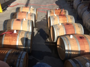 Hydrating barrels at Lagana Cellars to seal any leaks.