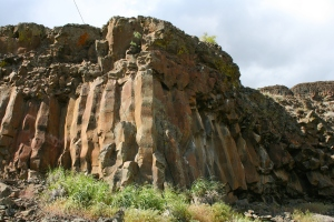 Weathered Basalt Columns, one of these split in half and laid open is the bar at Reininger Winery.
