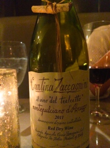 Cantina Zaccagnini Montelpuciano d' Abruzzo 2011 with the twig attached to the bottle.