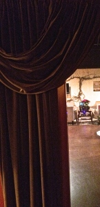Once into the Alexandria Nicole club member's room, looking back out past the curtain.