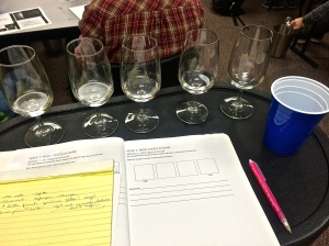 Wine Sensory class - from a wine makers point of view - begins with water amended with acid, sugar and quinine (bitter).