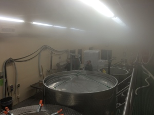 Steam cleaning the bottling line between wines.