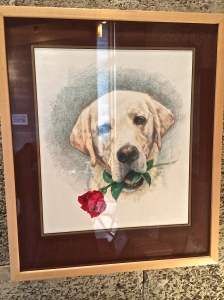 Murray, the Hightower's first yellow lab is immortalized in this painting which is the rose' label.
