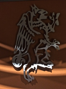 The logo for Barnard Griffin hangs on the tasting room fireplace.