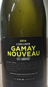 We started Super Bowl 2015 with a Portland Gamay Bouveau - very nice.