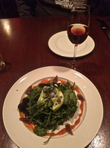 La Rambla in McMinnville, OR: herb salad paired with Caba De La Rosa +  a touch of Creme de Cassis.