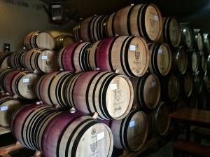 Bergstrom Wines, Newberg, OR, barrel room.
