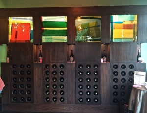 Fused glass panels light up in the Chehalem Wines tasting room in Newberg, OR.