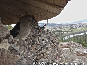 The Stone Gazebo at Cliff House overlooking the Spokane Valley at Arbor Crest Cellars.