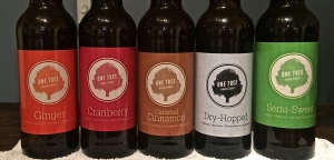 The five current cider flavors available at One Tree Hard Cider.