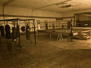 Originally an Art Deco era dance floor and stage (all original), there is a boxing studio on the second floor of the Market Place Wine Bar in Spokane, WA.