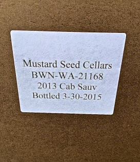 First box of bottled first vintage Mustard Seed Cellars 2013 Cabernet Sauvignon!
