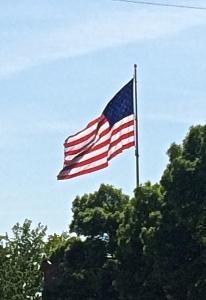 American Flag over tree tops, Walla Walla, Washington.