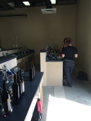 College Cellars lab work during bottling.