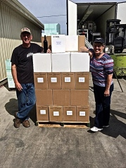 Gary & Dawn with their first bottling complete, March of 2014.