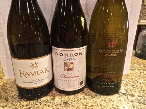 All three Chardonnay wines from Gordon Estate: 2014 Kamiak, 2013 Chardonnay and 2013 Chardonnay Reserve.