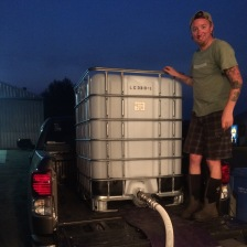 We rigged a poly tote in the back of my pickup truck while it was empty to transport the juice to Lagana Cellars facilities.