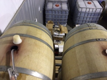 A view from on high; topping barrels is an ongoing cellar activity through the year.