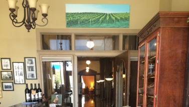 Photo of Mission Hills Vineyard above the Marcus Whitman lobby door.