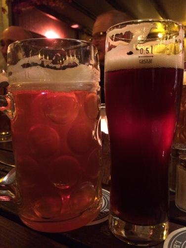 Liter and half liter beers at Lemke Brewery.