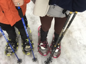 Hubby's snowshoes are on correctly, mine were wrong.