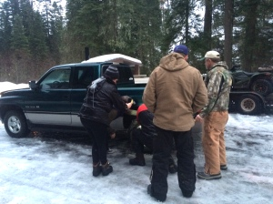 Removing chains from this tire was a group effort.