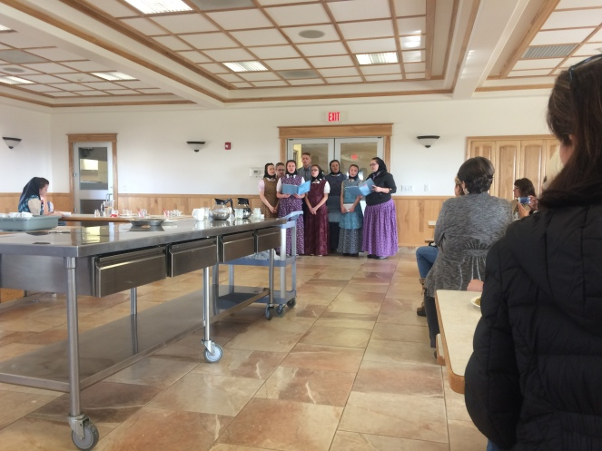 The Hutterite youth serenade us with two English and one German hymn after our tasty lunch.