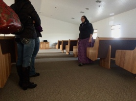 Beautiful, handmade furniture is the only adornment in the Stanfield Hutterite church.