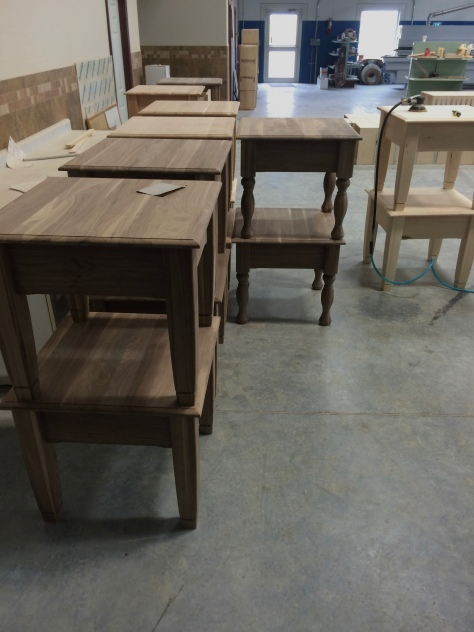 These nightstands are ready for the Stanfield Colony women to sand; excellent workmanship!