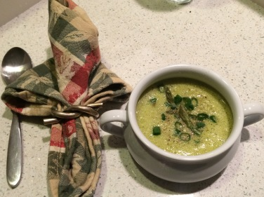 Asparagus soup, a lovely Spring-time taste in February. Simple and quick to make and delicious.